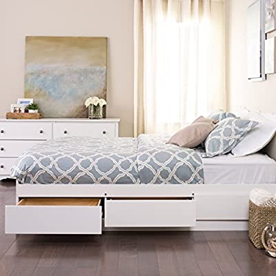 Prepac Full Mate's Platform Storage Bed with 6 Drawers, White - Expand the storage potential of your bedroom with the Full Mate's Platform Storage Bed with 6 Drawers Six 18 inch deep drawers (three on each side) included in this mate's bed to stow away blankets, linens & more Suitable for full-sized mattresses; Eight wood slats positioned length-wise distribute body weight evenly - bedroom-furniture, bedroom, bed-frames - 51 XQZ%2BSdLL. SS400  -