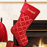 GiftsForYouNow Red Ribbon Personalized Christmas Stocking, 18.5'', Embroidered