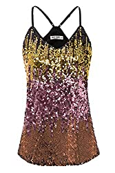 Pink/Black/Gold Sequin Sleeveless Camisole Tank Top