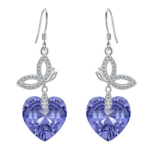 In Butterfly Wrap Lavender (EleQueen 925 Sterling Silver CZ Love Heart Butterfly French Hook Dangle Earrings Lavender Purple Made with Swarovski Crystals)