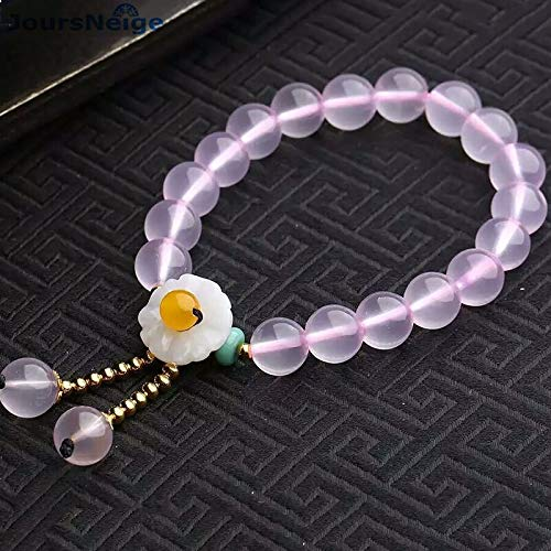 Natural Chalcedony Crystal Bracelets | 10mm Beads with Flower Bracelets | Female Pure and Lovely Bracelets | Hand String