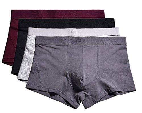 YVWTUC Mens Organic Cotton Boxer Briefs 4-Pack Cozy Underwear for ()