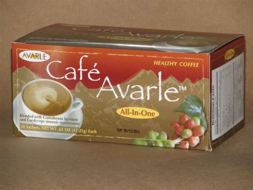All-in-One Healthy Coffee with Ganoderma & Cordceps. Creamer, Sugar & Xylitol 1Box (20 Pks Ea) by Cafe Avarle