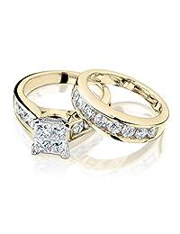 Princess Cut Diamond Engagement Ring and Wedding Band Set 1 Carat (ctw) in 14K Yellow Gold