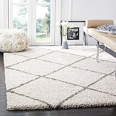 Safavieh Hudson Shag Collection SGH281A Ivory and Grey Moroccan Diamond Trellis Area Rug (8' x 10') - Expert construction ensures longevity and convenient upkeep Moroccan-inspired motif adds visual interest Pile is irresistibly soft and supple to the touch - living-room-soft-furnishings, living-room, area-rugs - 51 XRIM89gL. SS400  -