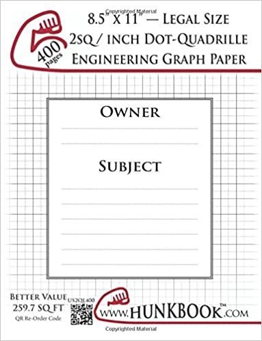 engineering graph paper 400pages white 2sq inch 1 2 dot