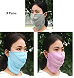Quick Drying Cycling Masks for Women Summer Breathable Mesh Mouth Masks with Neck Cover Outdoor Anti-uv Sun Block Half Face Masks Dustproof Allergy Pollen Germs Masks with Flexible Nose Open, 3 Pcs