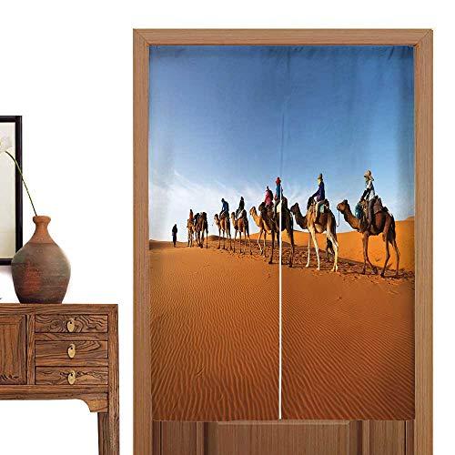 Sahara Curtain Cotton - vanfan Door Curtain carav go Through The s Dunes in The Sahara Desert Morocco Tapestry Cotton Linen Curtain Blind33.5 Wx59 L