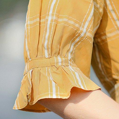 Style De Moyenne nbsp;robes Taille Jupe Bow de Nouveau xl Gueules 2018 Bow Treillis Manches Longueur Femme Robe Migmv qCAnE0w0