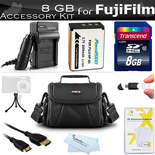 8GB Accessories Kit For Fuji Fujifilm FinePix SL300, S1, FinePix SL1000 Digital Camera Includes 8GB High Speed SD Memory Card + Extended (2000 Mah) Replacement Fuji NP-85 Battery + AC/DC Rapid Charger + Mini HDMI Cable + Case + Screen Protectors + More by ButterflyPhoto