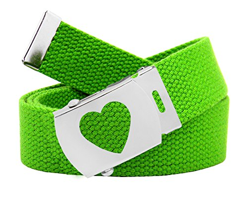 Belts Kids Accessories 8 (Girl's School Uniform Silver Slider Heart Belt Buckle with Canvas Web Belt Medium Kelly Green)