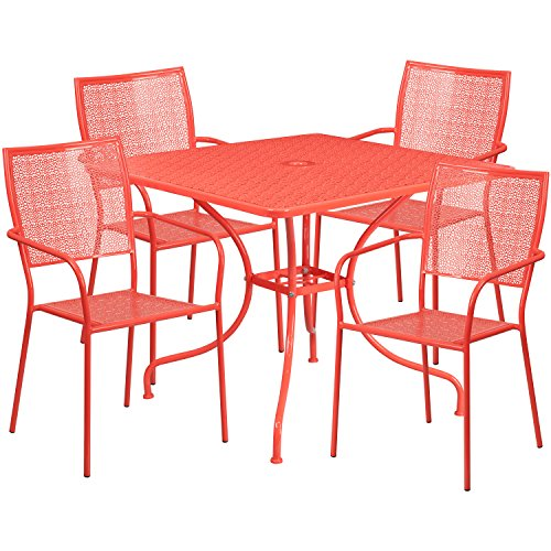 '' Square Coral Indoor-Outdoor Steel Patio Table Set with 4 Square Back Chairs ()