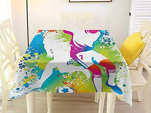 L'sWOW Summer Square Tablecloth Youth Football Players with a Soccer Ball and Colorful Grunge Splashes Competition Sports Multicolor Stripe 60 x 60 Inch ()