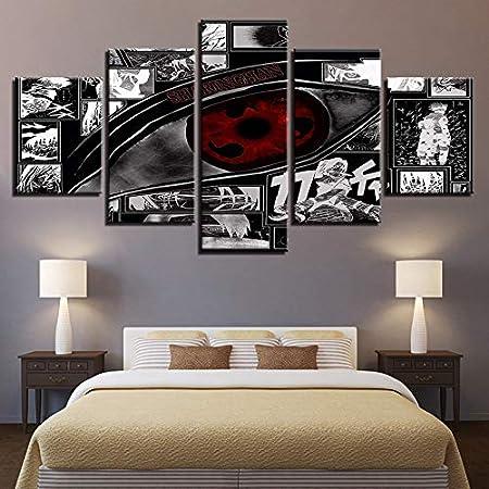 juntop Impressions sur Toile Modulaire Image HD Impression sur Toile Peinture 5 Bande Dessin/ée Naruto Famille D/écoration pour Chambre des Enfants Anime Mur Oeuvre Affiche-Cadre