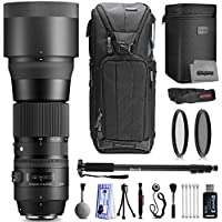 Sigma 150-600mm F5-6.3 DG OS HSM Professional Photography Zoom Lens for Canon with Filter Accessory Kit Including Backpack Filters Monopod Cleaning and Card Reader