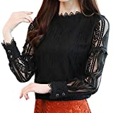 ManxiVoo New Women's Collared Lace Striped Floral Pleated Blouse Long Sleeve Slim Work Shirt Top (L, Black)