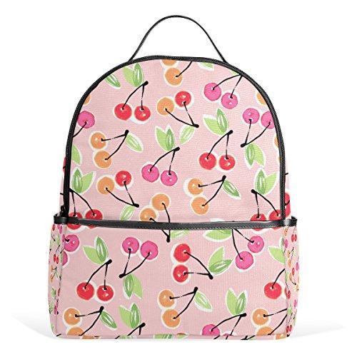 Sunlome Fruit Cherry Pattern Laptop Backpack Casual Shoulder Daypack for Student School Bag Handbag - (Casual Light Cherry)