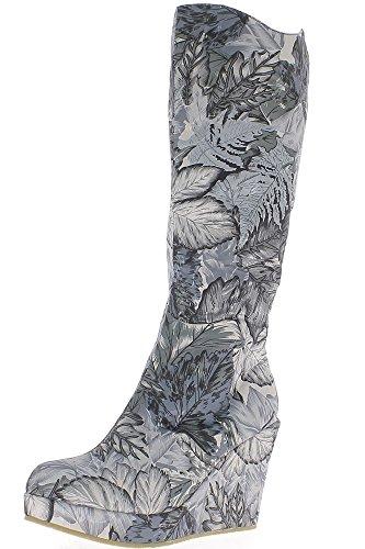 Keil-Stiefel Frauen grau florale Motive, 9,5 cm Absatz