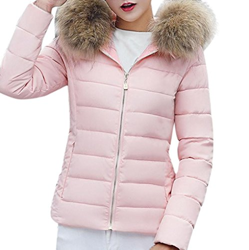 Solid KIMODO Overcoat Women Hooded Collar Pink Slim Jacket Winter Casual Ladies Warm Thicker New Fur zzwrE5