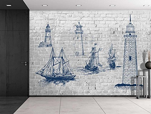 Sketches of Lighthouses and Sailboats on a Brickwall Wall Mural