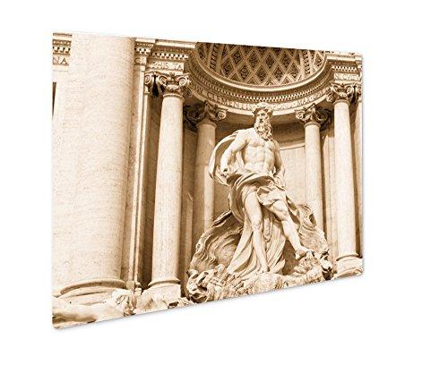 Ashley Giclee Neptune Of Trevi Fountain Fontana Di Trevi In Rome, Wall Art Photo Print On Metal Panel, Sepia, 16x20, Floating Frame, AG6142789