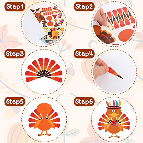 Koogel 15pcs Thanksgiving Stickers for Kids, Thanksgiving Party Activities Thanksgiving Turkey Game Turkey Stickers for Thanksgiving Party Games Children DIY Creation Thanksgiving Party Decoration