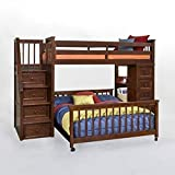 NE Kids Schoolhouse Stairway Loft Bed with Chest End -