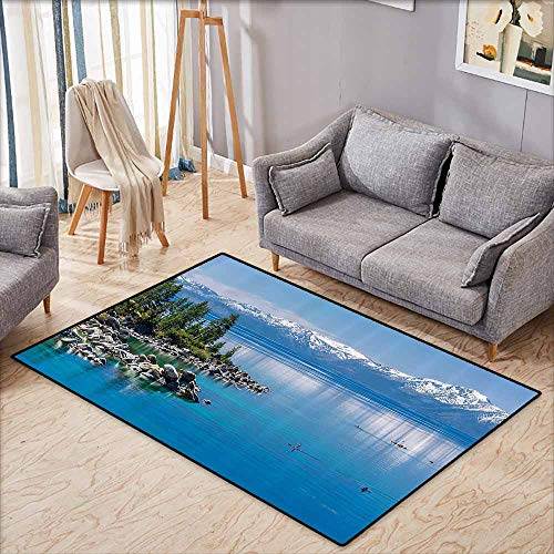 (Inner Door Rug Landscape Blue Waters of Lake Tahoe Snowy Mountains Pine Trees Rocks Relax Shore Light Blue Green Grey Durable W7'8 xL4'9)