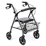 Collapsible Portable 4 Wheel with Shopping Basket Elderly Walker
