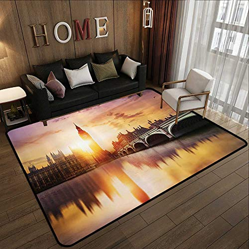 (Modern Abstract Area Rug,London Decor Collection,Big Ben and Westminster Bridge at Dusk with Blurry River Reflection Photography,Sandy Orange Lav 55