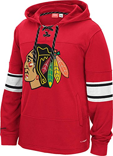 Chicago Blackhawks Red Logo Face Off Pullover Hooded Sweatshirt