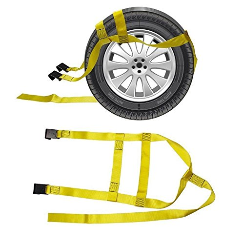 2x Car Basket Straps Adjustable Tow Dolly DEMCO Wheel Net Set Flat Hook YELLOW