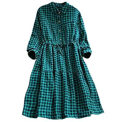 Londony ??? Casual Dress for Women Long Sleeve Lapel Neck Plaid Pattern Tunic Tops Mini Plaid T Shirt Dress