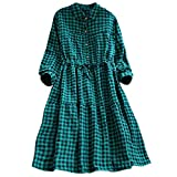 AMSKY Dress Romper for Women,Women's Casual Plaid Tunic Button Down Long Sleeve Shirt Dress,Cocktail,Green,S