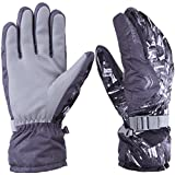 WILD SNOW Men's Ski Gloves Winter Waterproof Windproof Glove for Cycling Snowboarding and Working Size XL (Grey)