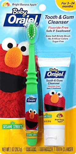 51 XTjmbFOL. AC - Orajel Elmo Fluoride-Free Tooth & Gum Cleanser 1.0 Oz. With Toothbrush, Banana Apple, 1 Oz.