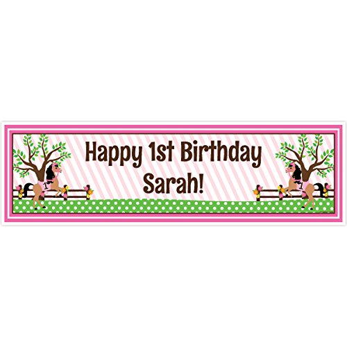 (Playful Pony 1st Birthday 5 Ft. Large Personalized Banner)