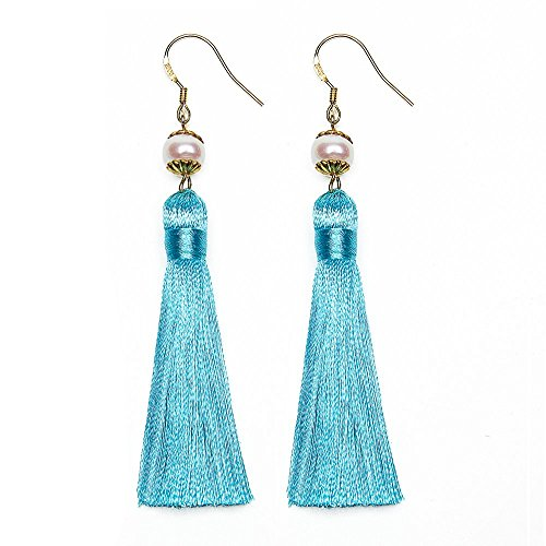 Gift Boxed Earrings – Audrey Hepburn Breakfast at Tiffany's, Tassel 24 Karat Gold - Tiffany Turquoise Inspired By Tiffany Pearl Earring