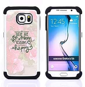 """Samsung Galaxy S6 / SM-G920 - 3 en 1 impreso colorido de Altas Prestaciones PC Funda chaqueta Negro cubierta gel silicona suave (Feliz inspirada motivación Primavera"""")"""