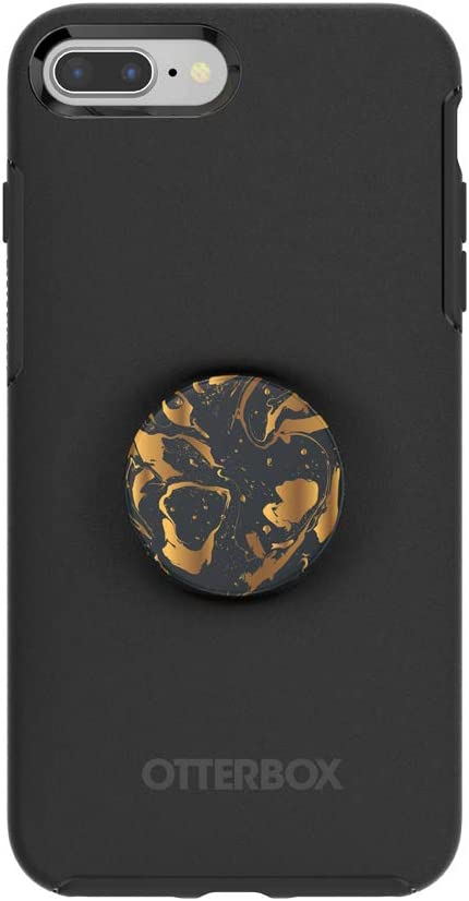 Otter + Pop for iPhone 7+ and 8+: OtterBox Symmetry Series Case with PopSockets Swappable PopTop - Black and Gilded Swirl
