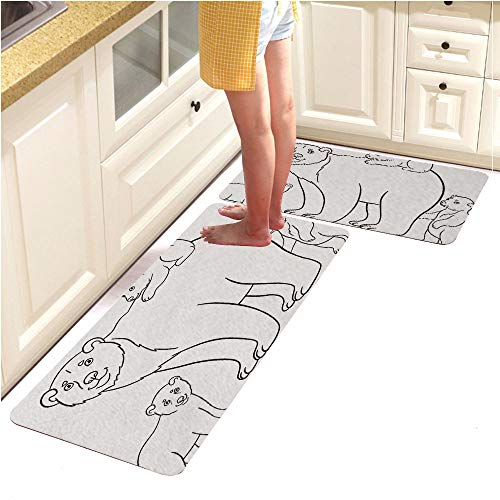 Alphabet Pebbles Page (Rugs Runner Rug -Non Skid Carpet Entry Rugs Runners for Kitchen and Entryway,Coloring Pages Mother Polar Bear with hercute Babies (15