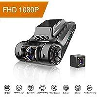 OTHA Telecamera per auto Full HD,Telecamera posteriore per auto, Telecamera di backup Visione notturna SONY IMX323 Sensore Dual Lens Car Dash, Sensore di movimento Dash Cam Park Surveillance