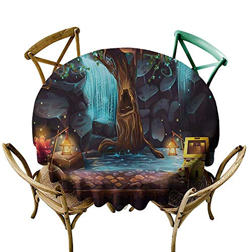 - Wendell Joshua Party Tablecloth 39 inch Fantasy,Cartoon Style Cave Landscape with a Big Tree Treasure Chest Lamps and Waterfall,Multicolor 100% Polyester Spillproof Tablecloths for Round Tables
