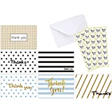 Ohuhu 48 Assorted Thank You Cards, Postcard Style Thank U Greeting Card of 6 Designs, One Blank Side Note Cards Card Stock W/ 48 Envelopes & 48 Stickers for Wedding, Baby Shower, Graduation