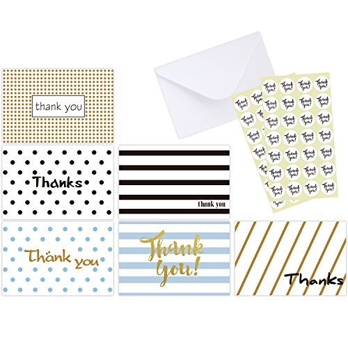Ohuhu 48 Assorted Thank You Cards, Postcard Style Thank U Greeting Card of 6 Designs, One Blank Side Note Cards Card Stock W/48 Envelopes & 48 Stickers for Wedding, Baby (Small Thank You Cards)