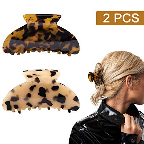 2PCS Hair Claw Banana Clips tortoise Barrettes Celluloid French Design Barrettes celluloid Leopard print Large Fashion Accessories for Women Girls
