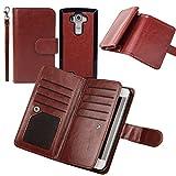 Wallet Case for LG G4, xhorizon TM FLK Premium Leather Folio Case Wallet Magnetic Detachable Removable Wristlet Purse Soft Multiple Card Slots Cover for LG G4 (Coffee)