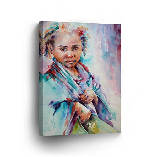 African Kid Watercolor Painting CANVAS PRINT Decorative Art Wall Decor Artwork Wrapped Wood Stretcher Bars - Ready To Hang %100 Handmade in the USA - AfricanV85_C by Smile Art Design