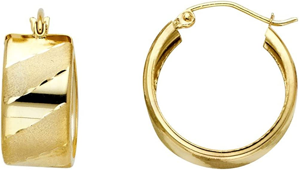 14k Yellow Gold Slanted Design Hoop Earrings