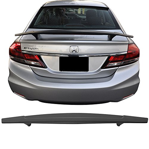 - Trunk Spoiler Fits 2013-2015 Honda Civic | Matte Black ABS Rear Tail Trunk Lid Lip Wing by IKON MOTORSPORTS | 2014